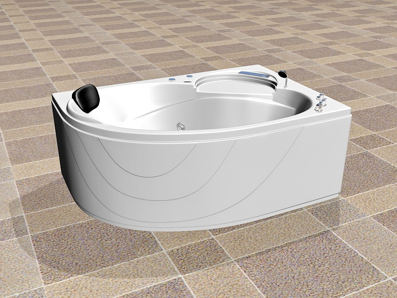 Corner Bathtub Design 3d rendering