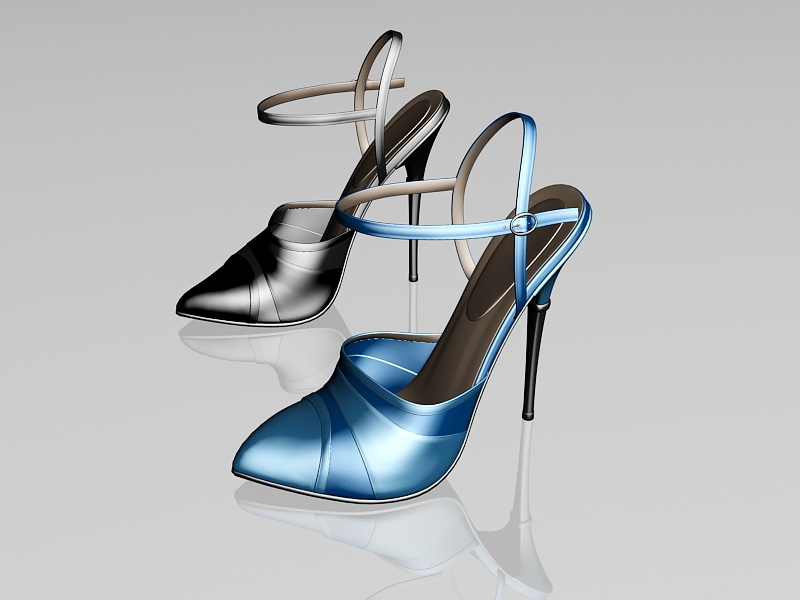 Ankle Strap High Heel Shoes 3d rendering