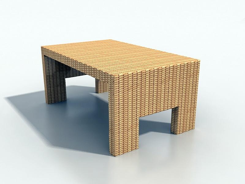Outdoor Wicker Coffee Table 3d rendering