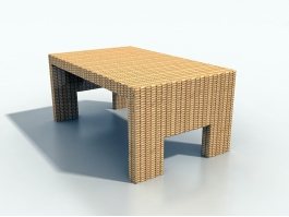 Outdoor Wicker Coffee Table 3d preview