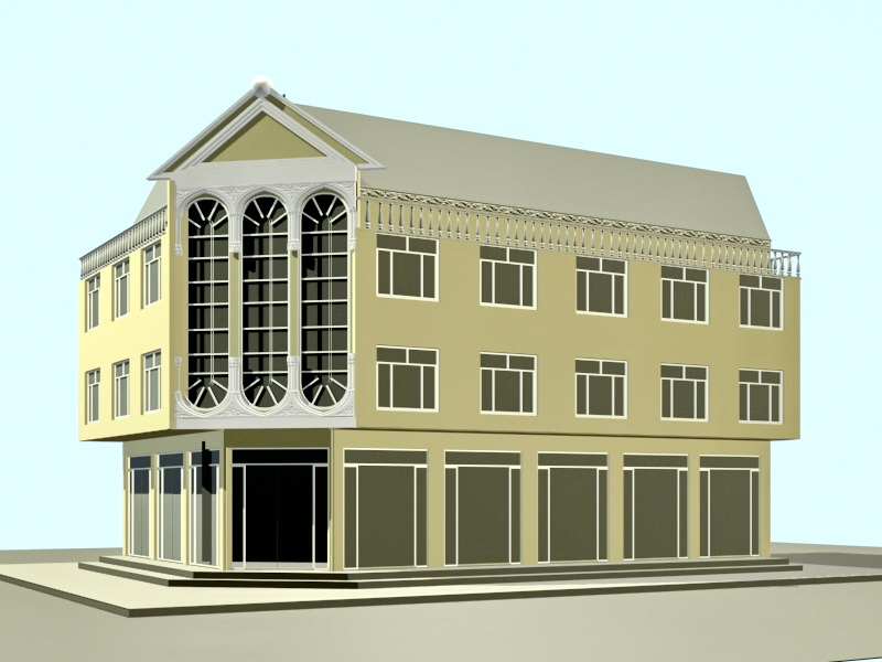 Small Office Building Design 3d rendering