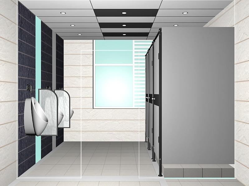 Men Washroom Design 3d rendering