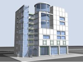 Office Building Exterior 3d model preview