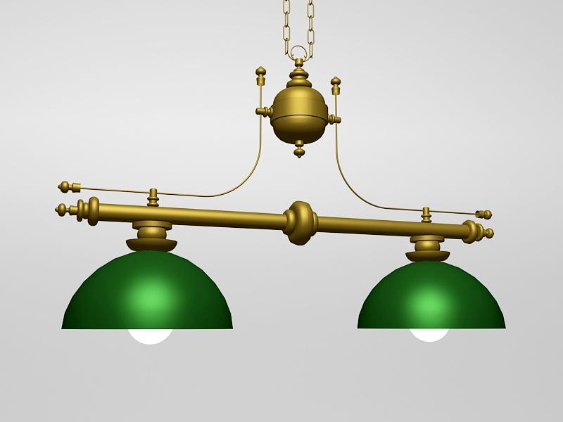 Antique Brass Billiard Table Pendant Lighting 3d rendering