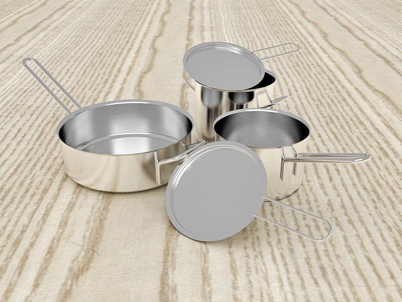 Stainless Steel Pans 3d rendering