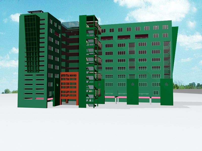 Old City Apartment Buildings 3d rendering