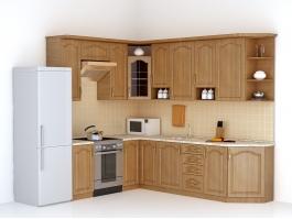 Small Corner Kitchen Design 3d preview