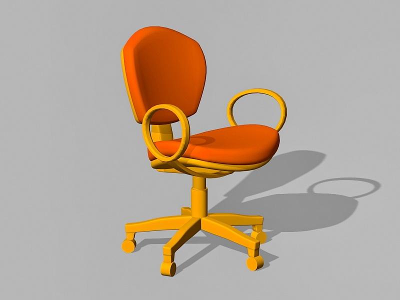 Orange Office Chair 3d rendering