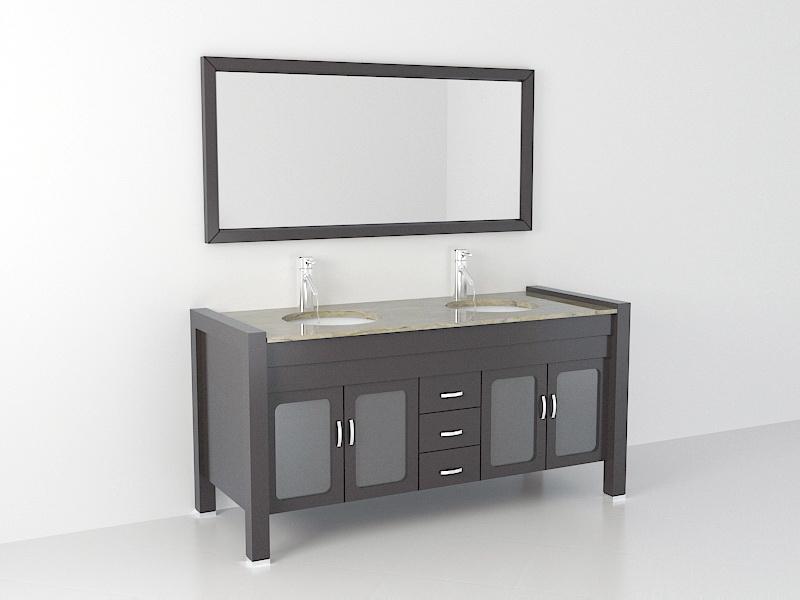 Double Sink Bathroom Vanity 3d rendering