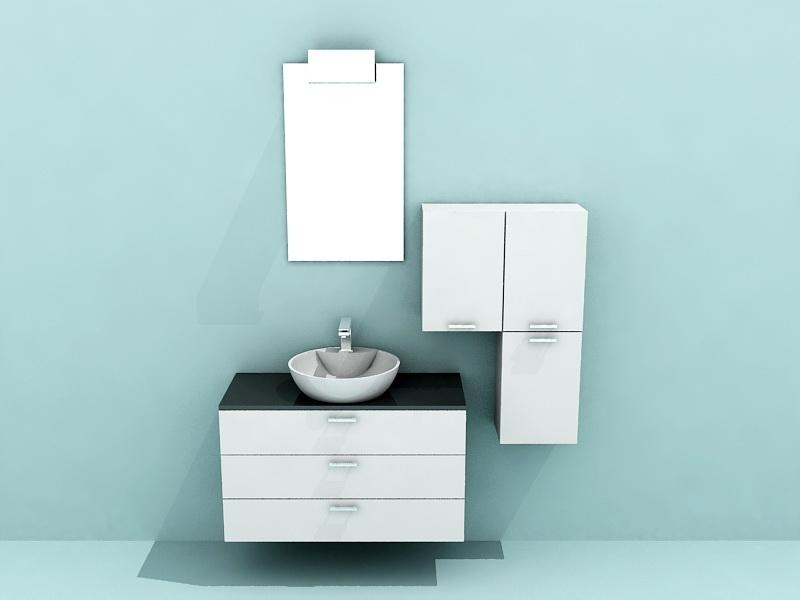 White Modern Bathroom Vanity 3d rendering
