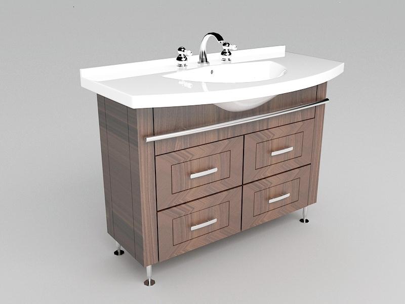 Small Bathroom Sink and Vanity 3d rendering