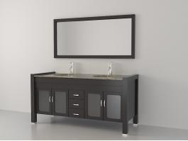 Double Sink Bathroom Vanity 3d preview