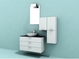 White Modern Bathroom Vanity 3d preview