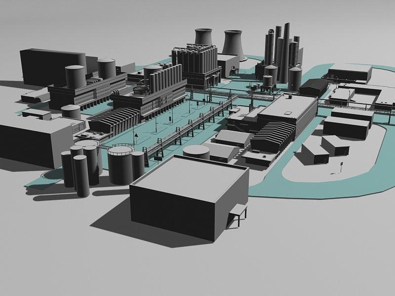 Industrial Chemical Plant 3d rendering