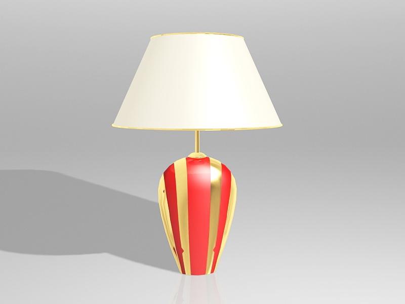 Red Ceramic Table Lamp 3d rendering