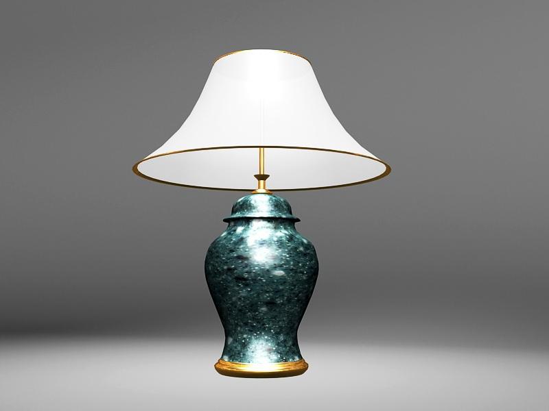 Emerald Green Table Lamp 3d rendering