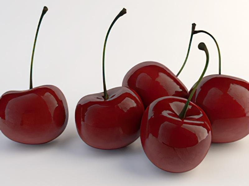 Sweet Red Cherries 3d rendering