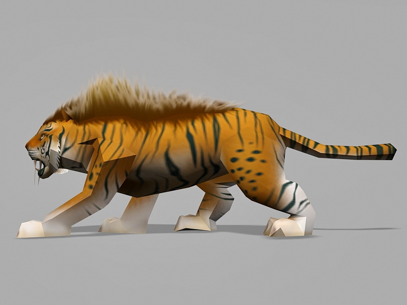Low Poly Tiger 3d rendering