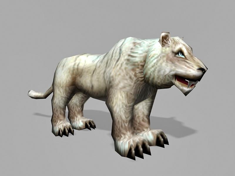 Low Poly White Tigon 3d rendering