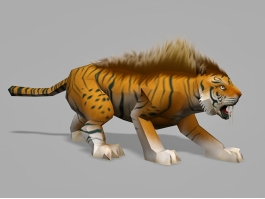 Low Poly Tiger 3d preview