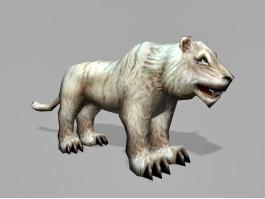 Low Poly White Tigon 3d preview