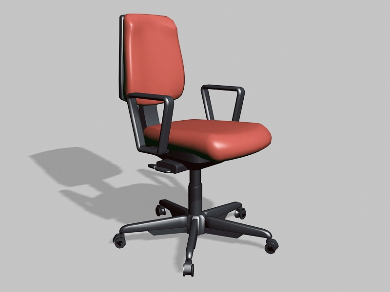 Red and Black Swivel Desk Chair 3d rendering