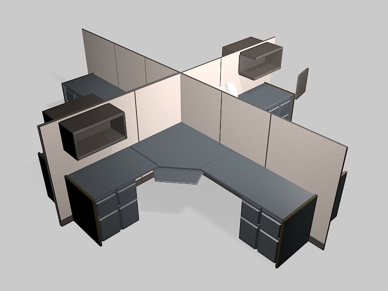 4-Pperson Office Cubicle 3d rendering