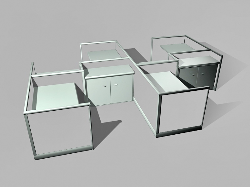 Office Cubicles Workstations 3d rendering