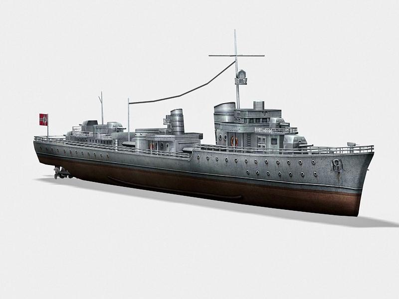 German Type 1936 Destroyer 3d rendering