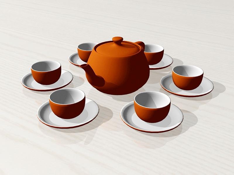 Porcelain Chinese Tea Set 3d rendering