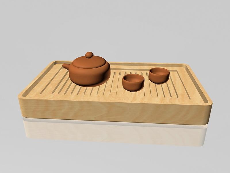 Chinese kung fu tea set 3d rendering