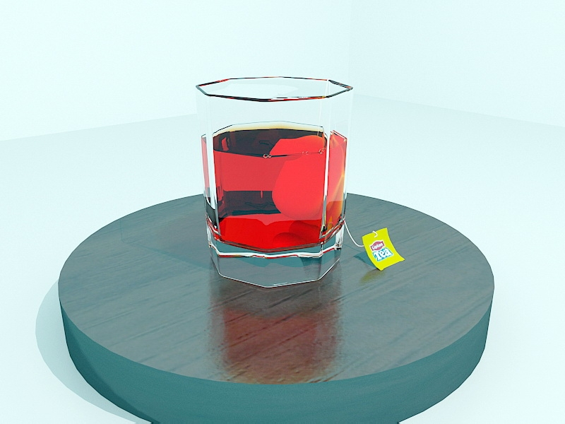 Red Tea in A Glass 3d rendering