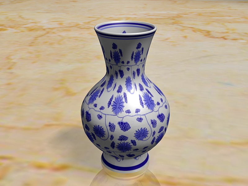 Blue and White Porcelain Vase 3d rendering