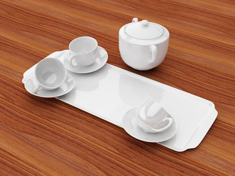 White Porcelain Tea Set 3d rendering