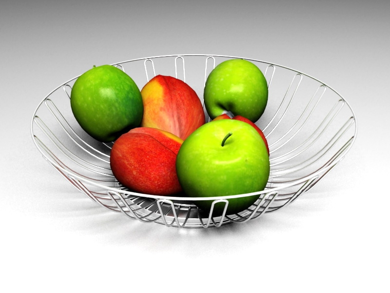 Fruits in Basket 3d rendering