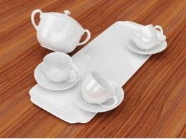 White Porcelain Tea Set 3d preview