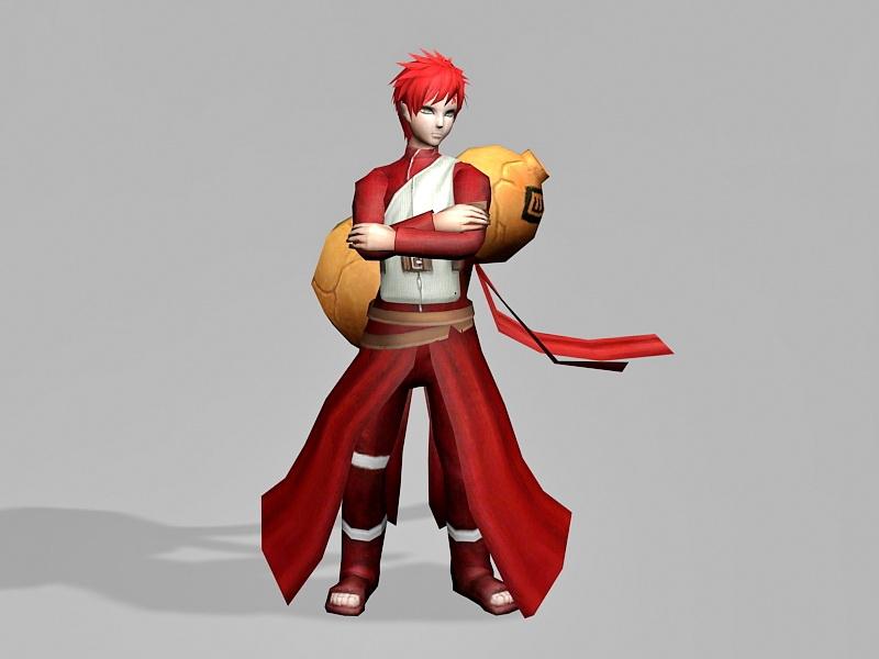 Gaara Naruto Character 3d rendering