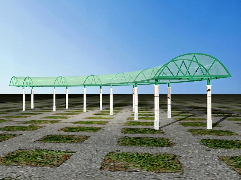 Modern Glass Roof Pergola 3d rendering