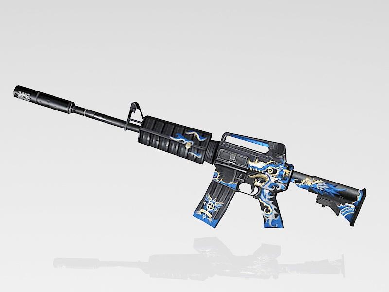 M4A1 Blue Dragon 3d rendering