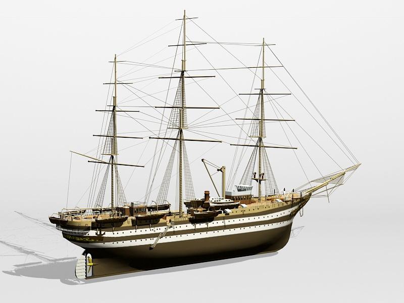 Amerigo Vespucci Tall Ship 3d rendering