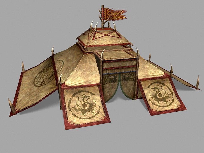 Ancient Chinese Military Tent 3d rendering