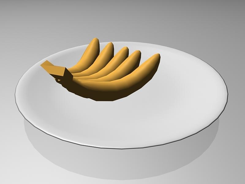 Banana On Plate 3d rendering