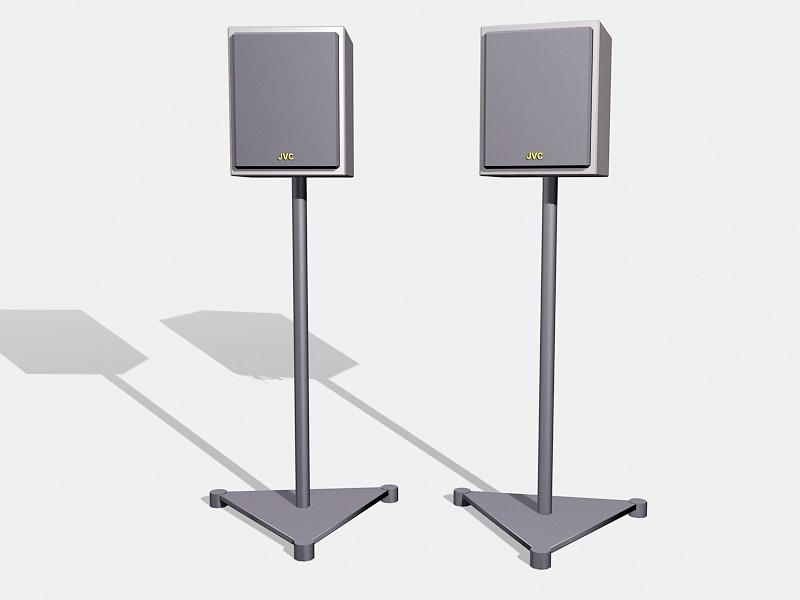JVC Floor Stand Bookshelf Speakers 3d rendering