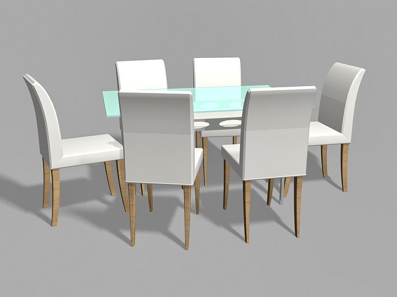 Glass Top Dining Room Set 3d rendering