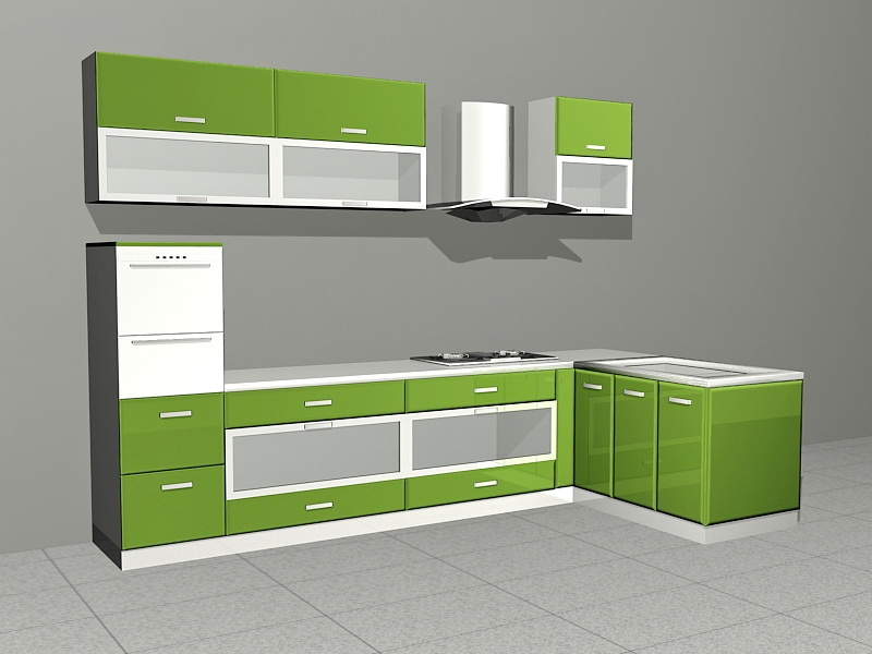 Lime Green Kitchen Ideas 3d rendering