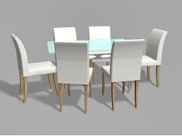 Glass Top Dining Room Set 3d preview