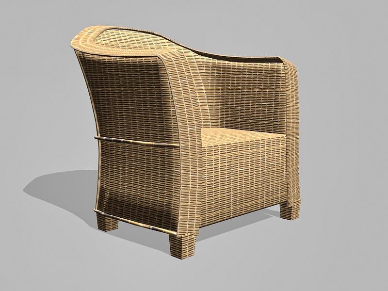 Rattan Barrel Chair 3d rendering