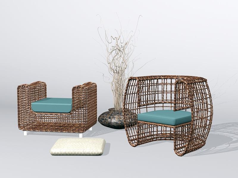 Wicker Rattan Furniture Sets 3d rendering