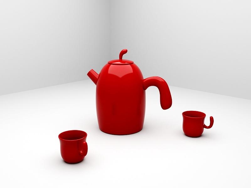 Red Ceramic Tea Set 3d rendering