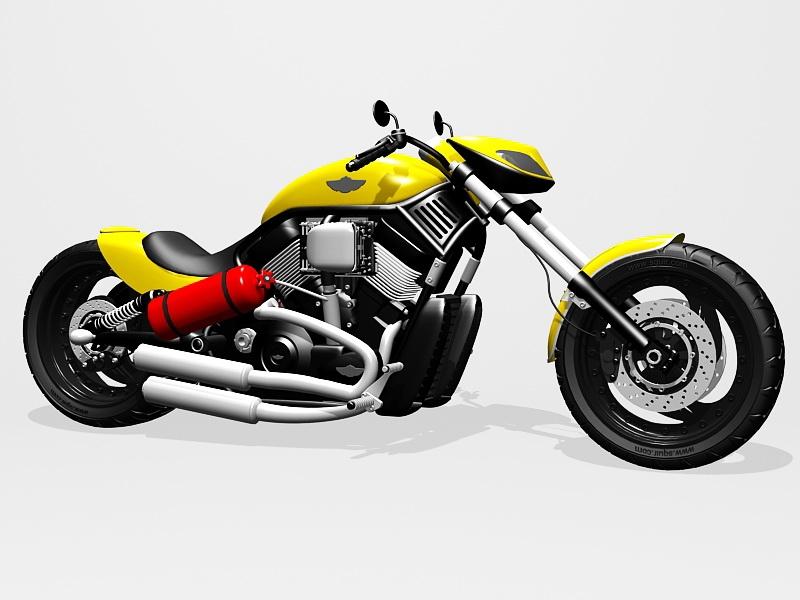 Harley-Davidson Sportster Yellow 3d rendering